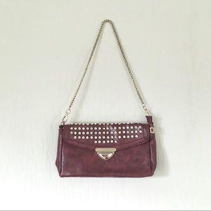 rhinestone studded Liz Soto chain purse dark red